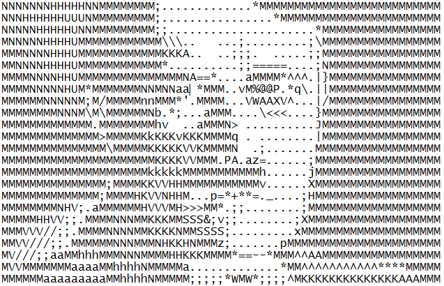 Sorry, this was the only ASCII art I could find of something German. I'll make up for it with another McConnell/turtle meme, ok?