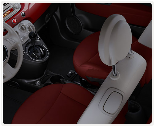 GREY IVORY INTERIOR WITH RED CLOTH SEATS (available on pop)