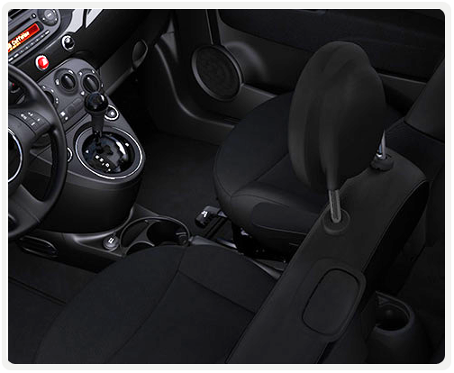 BLACK INTERIOR WITH GREY CLOTH SEATS (available on pop)