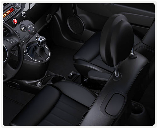 BLACK INTERIOR WITH BLACK LEATHER-FACED SEATS (available on 500 sport turbo)