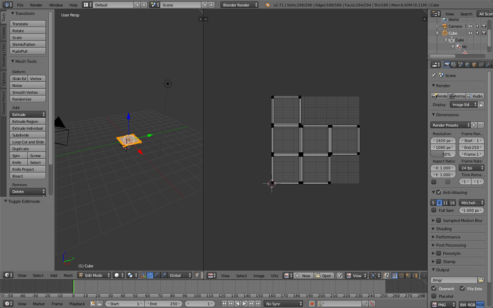 Card creating and UV mapping in Blender
