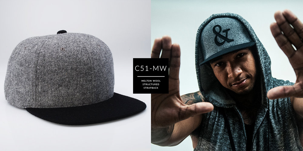 C51-MW // 6 Panel - Melton Wool // Strapback