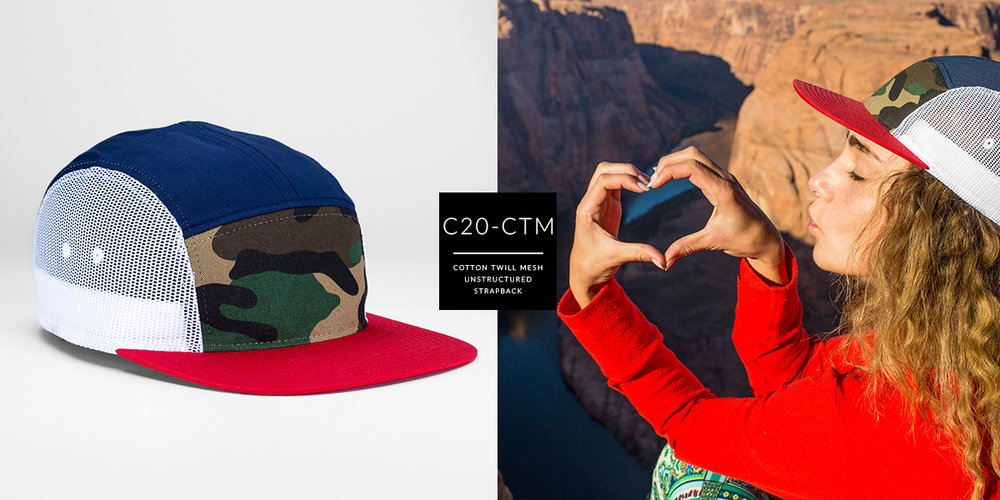 c20-CTM // 5 Panel Trucker - Cotton Twill & Mesh  // Strapback