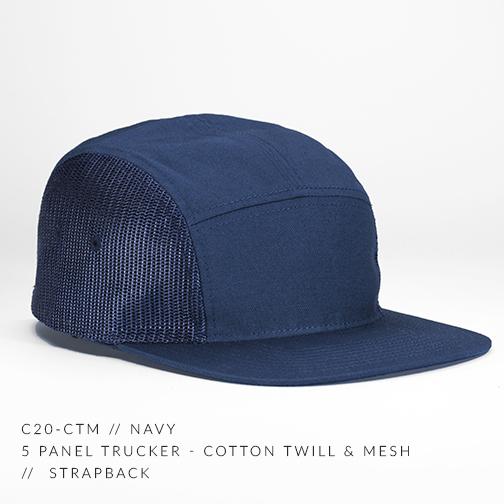 c20-CTM    5 Panel Trucker - Cotton Twill   Mesh    Custom Strapback ... 839a096588f