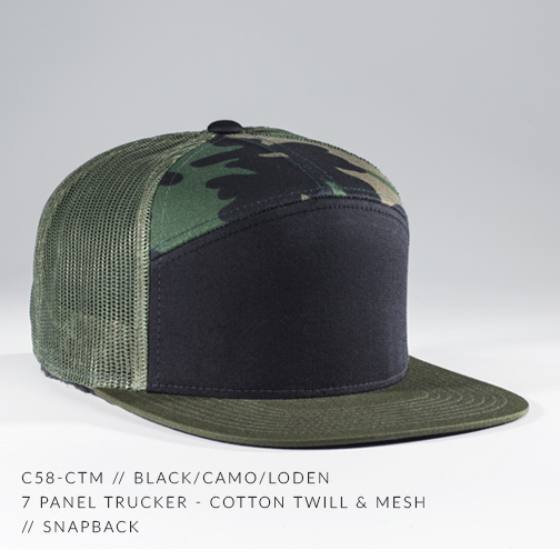 7736391c6cb25 c58-CTM    7 Panel Trucker - Cotton Twill   Mesh    Custom Snapback ...