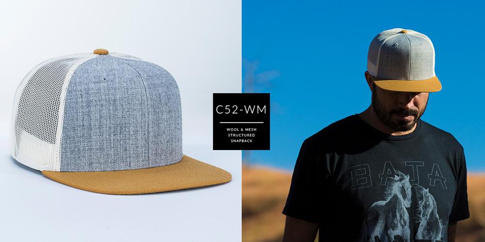 C52-WM // 6 PANEL TRUCKER - WOOL & MESH // CUSTOM SNAPBACK