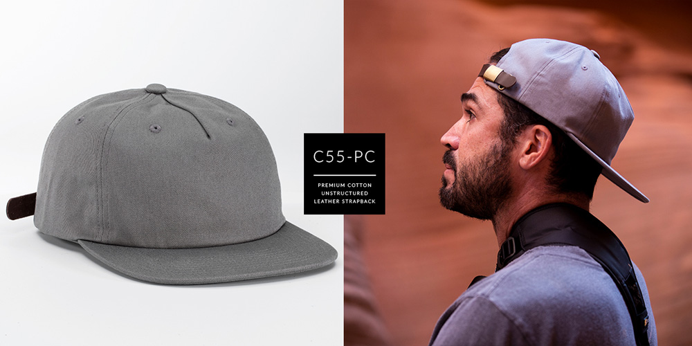 C55-PC // PINCH FRONT UNSTRUCTURED - PREMIUM COTTON // CUSTOM STRAPBACK
