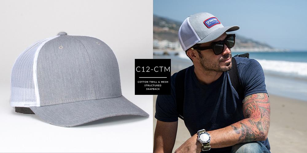 C12-CTM // PRE CURVED TRUCKER - COTTON TWILL & MESH // CUSTOM SNAPBACK