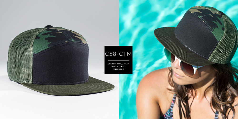 C58-CTM // 7 PANEL TRUCKER - COTTON TWILL & MESH // CUSTOM SNAPBACK