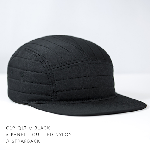 C19-QLT // BLACK - CUSTOM 5 PANEL - QUILTED NYLON // STRAPBACK