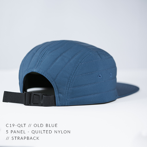 C19-QLT // RUSTY BROWN & OLD BLUE BACK - CUSTOM 5 PANEL - QUILTED NYLON // STRAPBACK