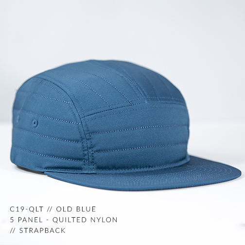 C19-QLT // OLD BLUE - CUSTOM 5 PANEL - QUILTED NYLON // STRAPBACK