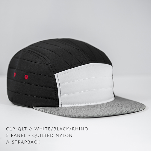 C19-QLT // WHITE/BLACK/RHINO - CUSTOM 5 PANEL - QUILTED NYLON // STRAPBACK