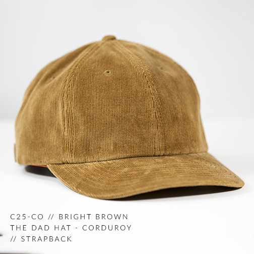 C25-CO // Bright Brown Custom Dad Hat - Corduroy // Strapback