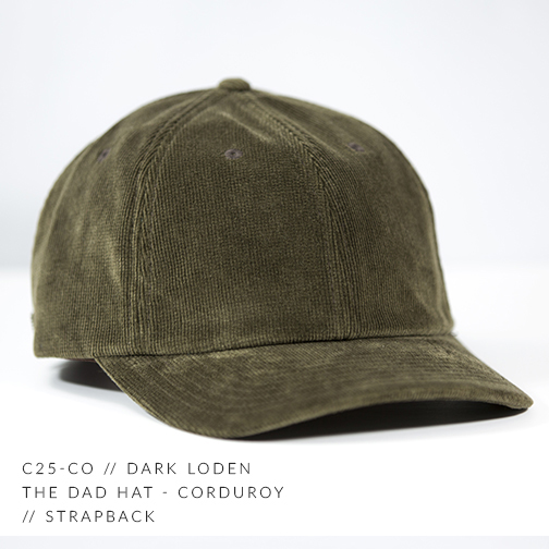C25-CO // Dark Loden Custom Dad Hat - Corduroy // Strapback