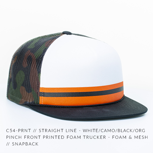 C54-PRNT // STRAIGHT LINE - WHITE/CAMO/BLACK/ORG | Pinch Front Printed Foam Trucker - Foam & MESH // SNAPBACK