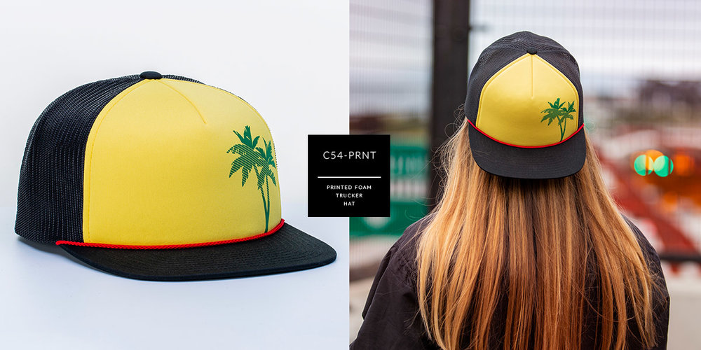 c54-PRNT // Printed Foam Trucker Hat - Foam & Mesh // CUSTOM 5 PANEL SNAPBACK