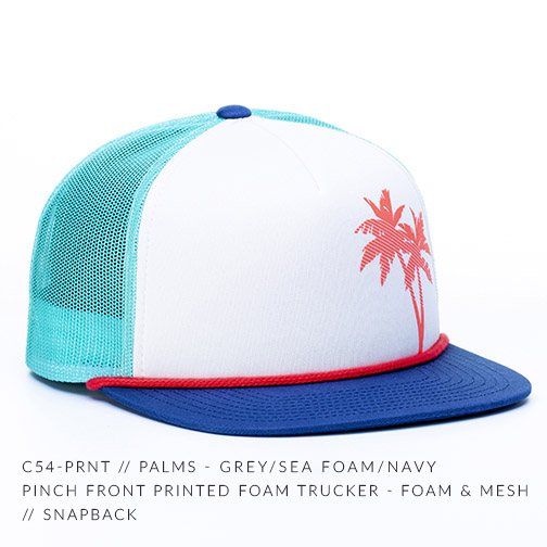 C54-PRNT // PALMS - GREY/SEA FOAM/NAVY