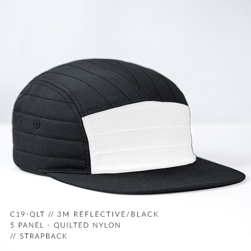 C19-QLT // 3M REFLECTIVE - CUSTOM 5 PANEL - QUILTED NYLON // STRAPBACK