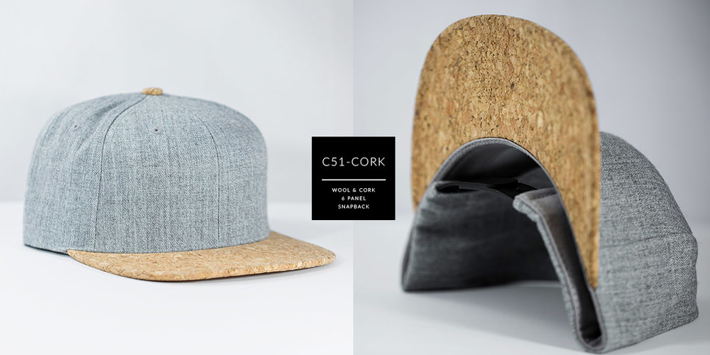 C51-CORK // 6 PANEL - WOOL & CORK // CUSTOM SNAPBACK