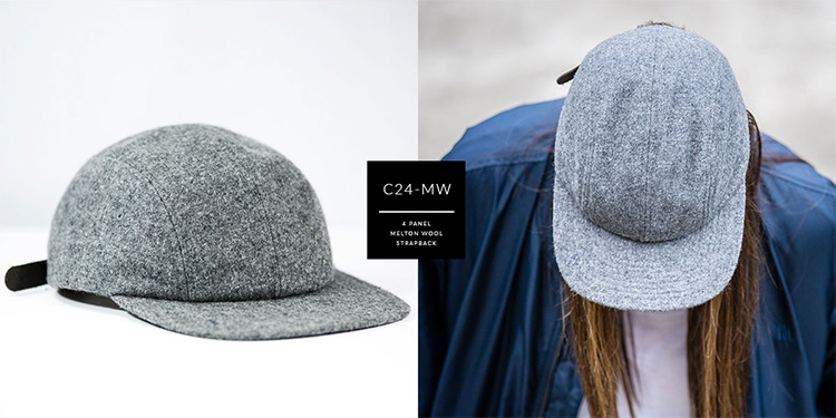 C24-MW // 4 PANEL - MELTON WOOL // CUSTOM STRAPBACK
