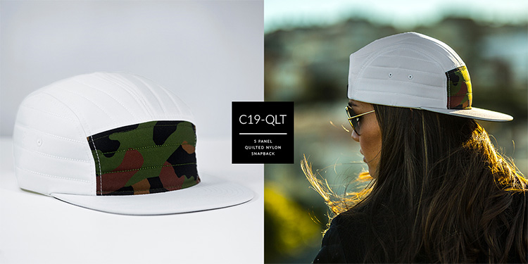 C19-QLT // 5 PANEL - QUILTED NYLON // CUSTOM STRAPBACK