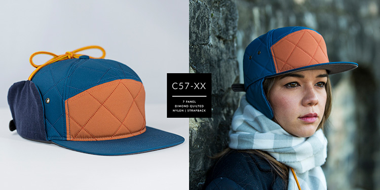 C57-XX  //  7 PANEL W/ FLAPS - DIAMOND QUILTED NYLON & CORDUROY  //  CUSTOM STRAPBACK
