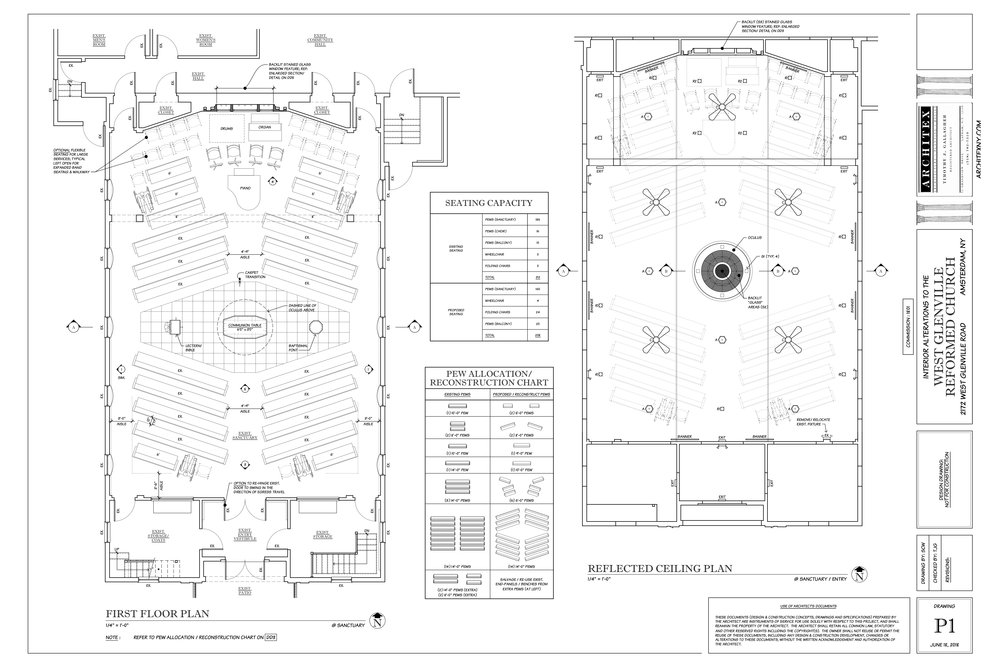 WORSHIP SPACE PLANS  The Plans provided above were presented the congregation by representatives from Architex NY, Schrader and Co.