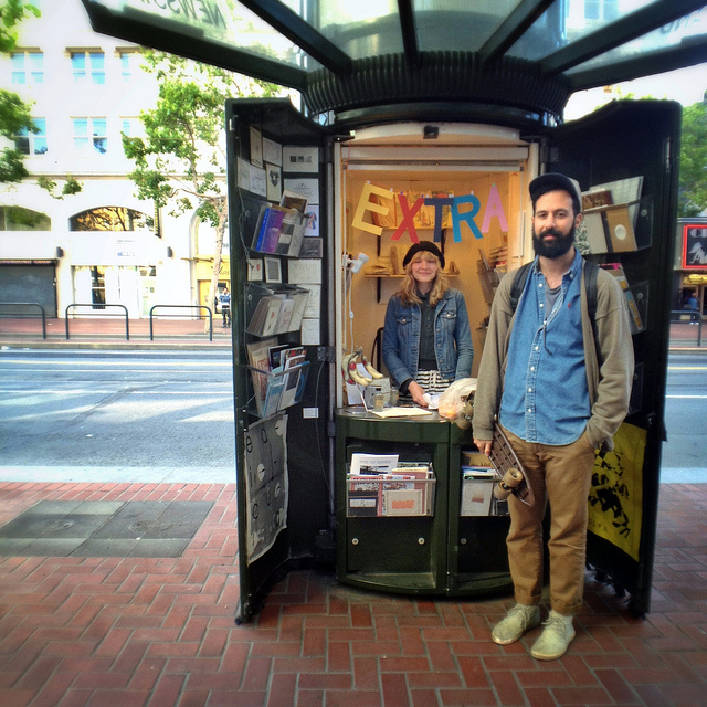 sfmoma: laughingsquid: Edicola, A Pop-Up Shop in a Former San Francisco Newspaper Stand Love these people! SF's own Carissa Potter and Luca Nino Antonucci of Colpa Press have created a whimsical pop-up shop, selling all types of printed matter, in a former newspaper stand. You can find them at 6th and Market, just a few blocks away from SFMOMA! :)