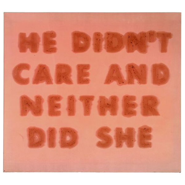 I hate to say I have recently taken a liking to Mr. Ruscha. The above work was made with cherries on satin.