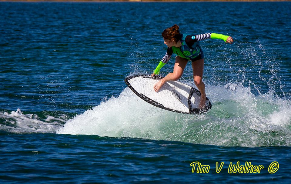 Eagle Team Rider: Taylor Dorey in her custom vest & wetsuit