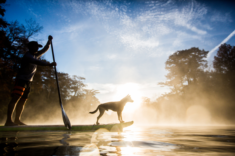 Jeff Archer, YOLO Board founder, adventure paddle cruising with his dog- Flea