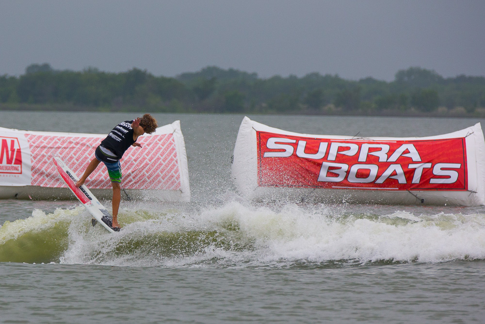 New Supra Boats team rider Parker Payne on his new Day 1 Wake custom.  Photo:  Mark Payne