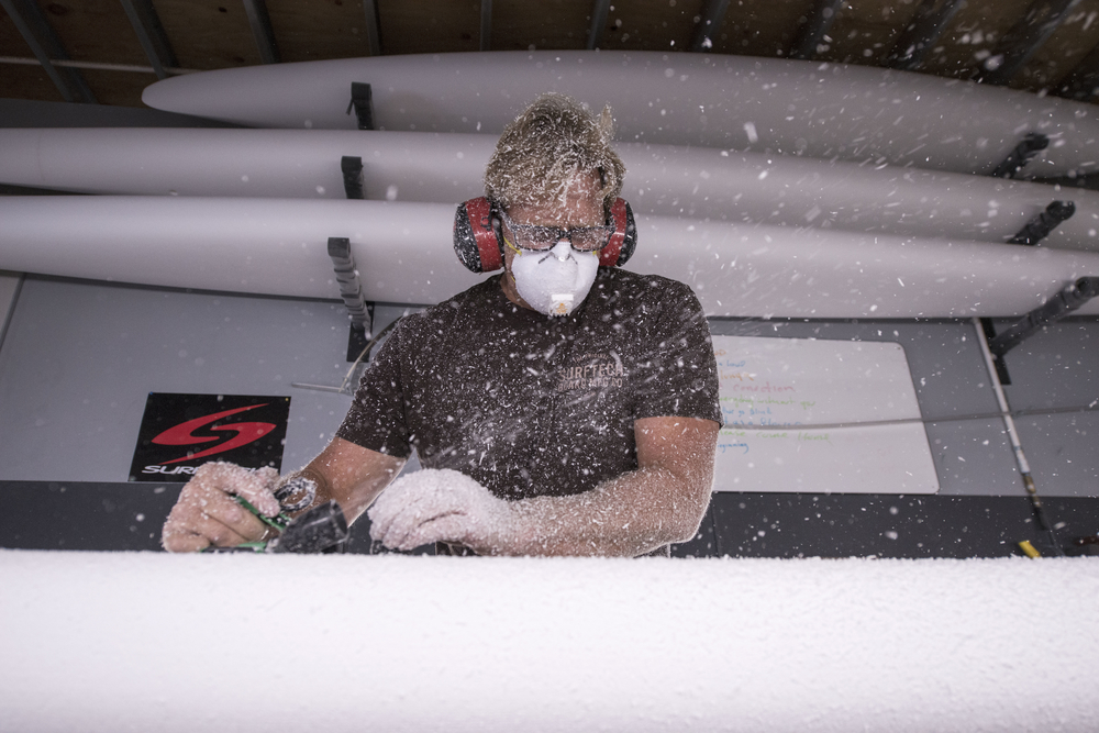 Joe Bark in the shaping room.  Photo courtesy of Rob at Surftech.