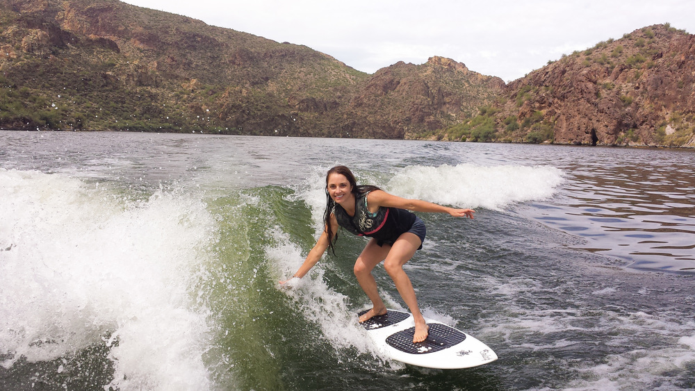 April wake surfing on Saguaro Lake in Arizona