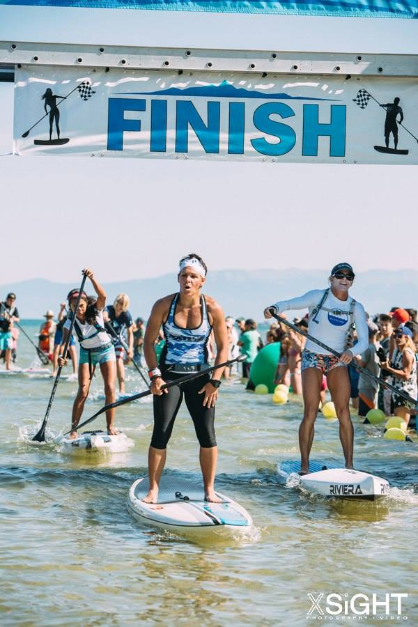 Photo- Gail DeMarco.  Right- Kim Barnes at the 2015 Tahoe Race the Lake of the Sky