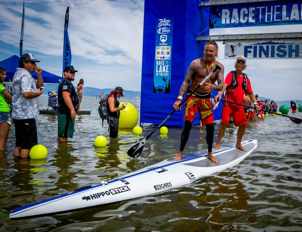 EJ Johnson at Tahoe Race the Lake of the Sky:  The Flare in Full Effect:  Natural Flare + Red Flare + Tandem Paddle Flare