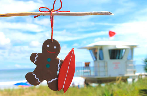 """Surfer Gingerbread Man"" near the beach"