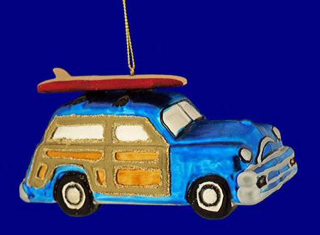 Woody Wagon Surf Car Christmas Ornament