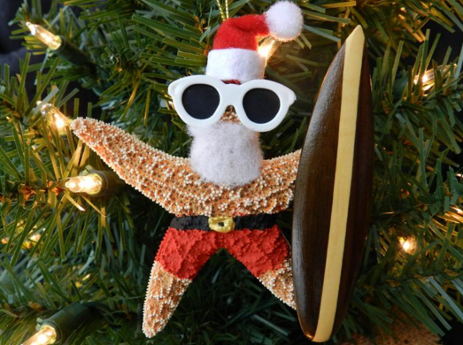 Santa Starfish Christmas Ornament