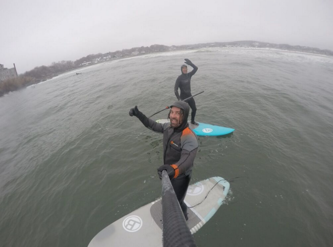 Jeramie Vaine and Johnny O supsurfing the winter swells in Massachusetts