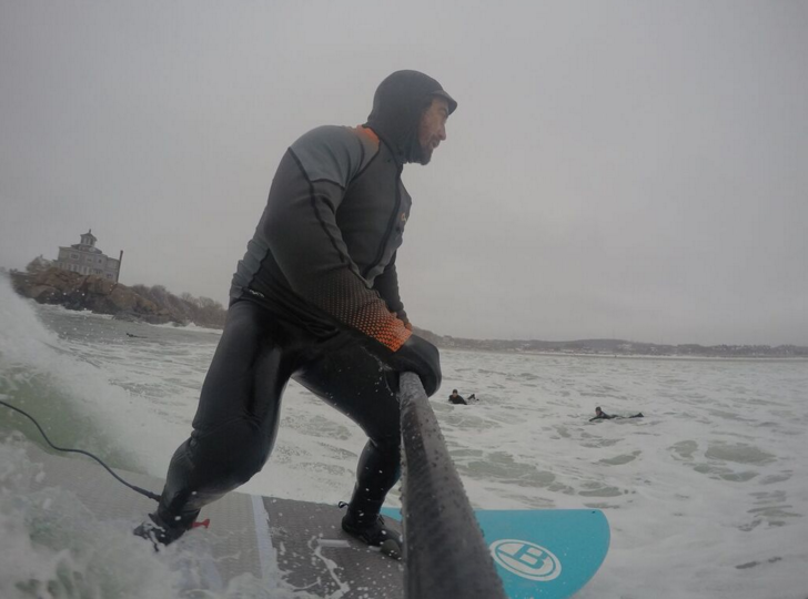 Winter SUP-Surfing in Massachusetts