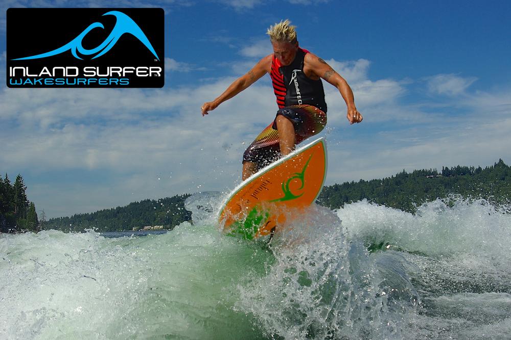 Jeff surfing at his home Lake Sammamish in Washington