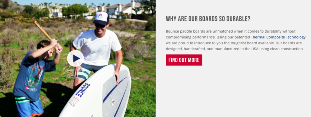 A screenshot of bouncesup.com's website with a bat hitting board video that will leave you speechless