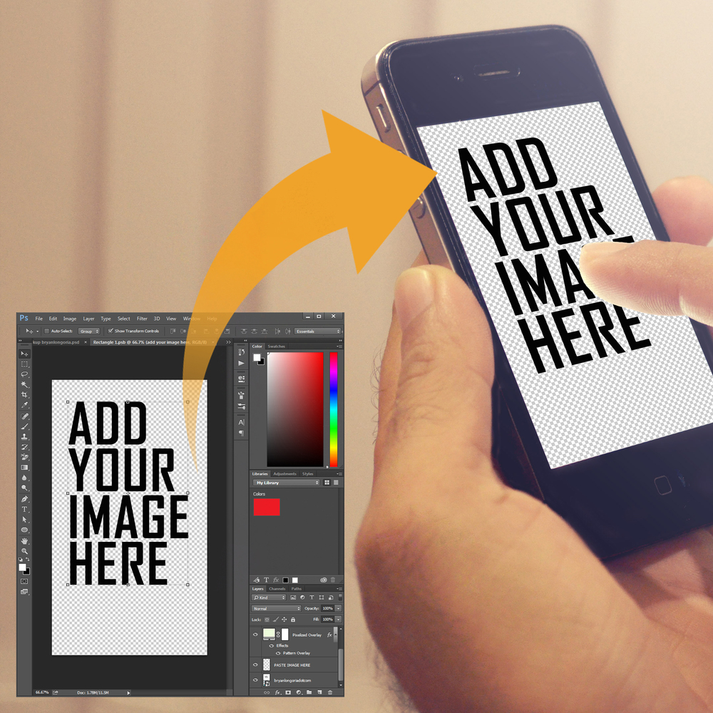 Mockup easy to add psd smart object