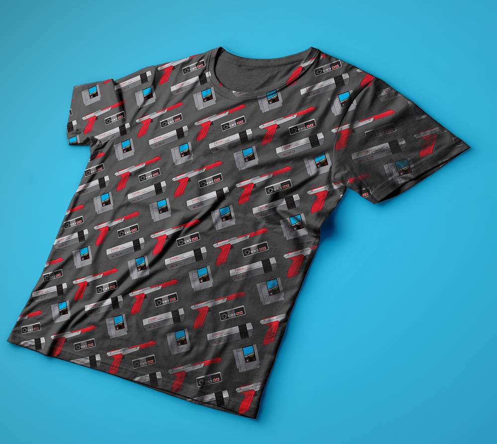 Nintendo Gamer t-shirt design with tileable pattern