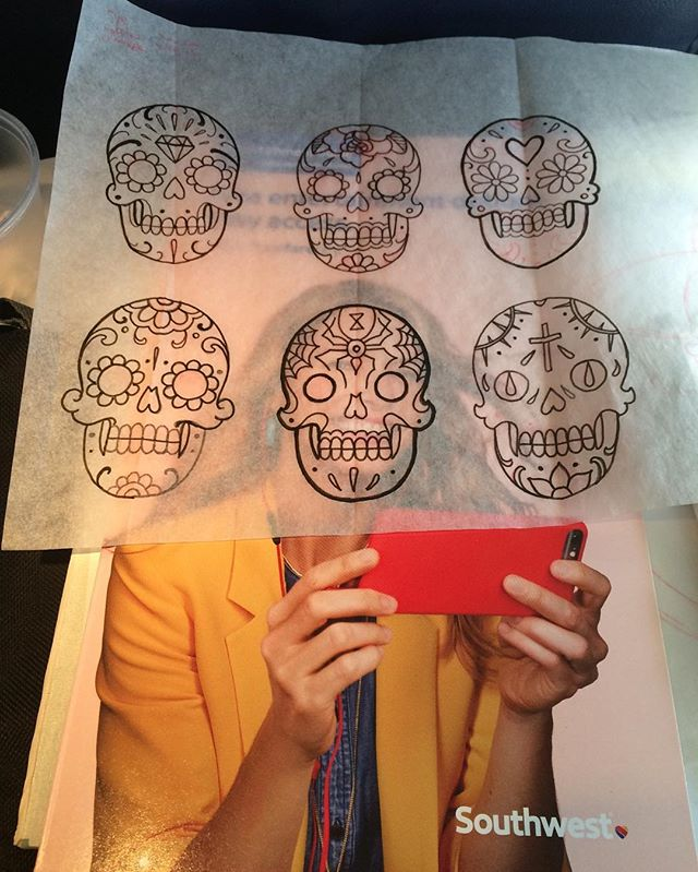 I love drawing on airplanes. #philly #philadelphia #denver #southwest #southwestairlines  #dayofthedead #skulltattoo