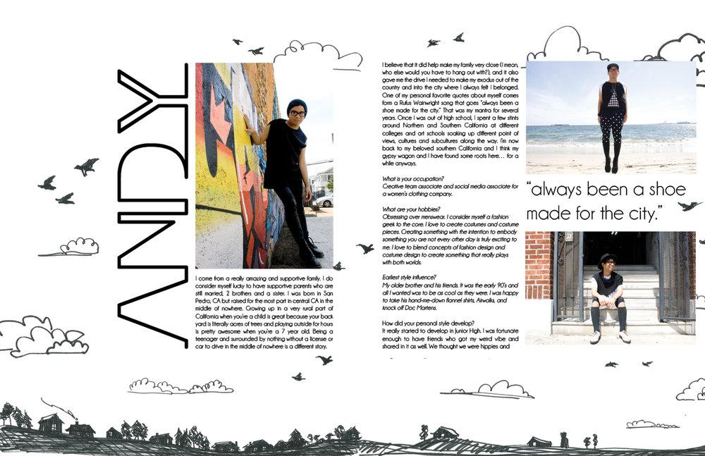 magazine layout design and illustration
