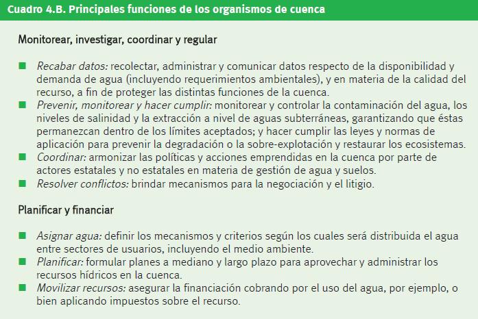 """Figura 1. Principales funciones de los organismos de cuenca. Basado en la """"Estimación completa de la gestión del agua en agricultura"""", 2008."""
