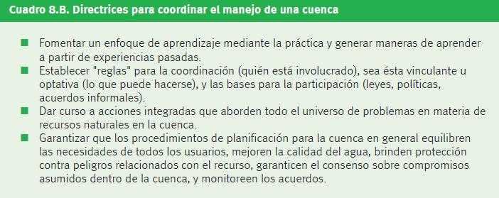 Figura 2. Directrices para coordinar el manejo de una cuenca.